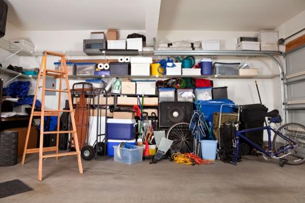 semi-messy garage before organizing