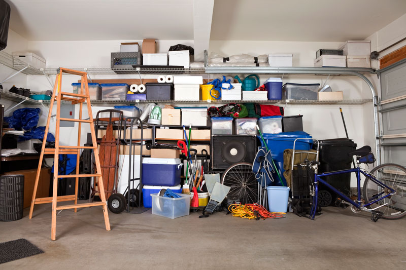 semi-messy garage before organizing