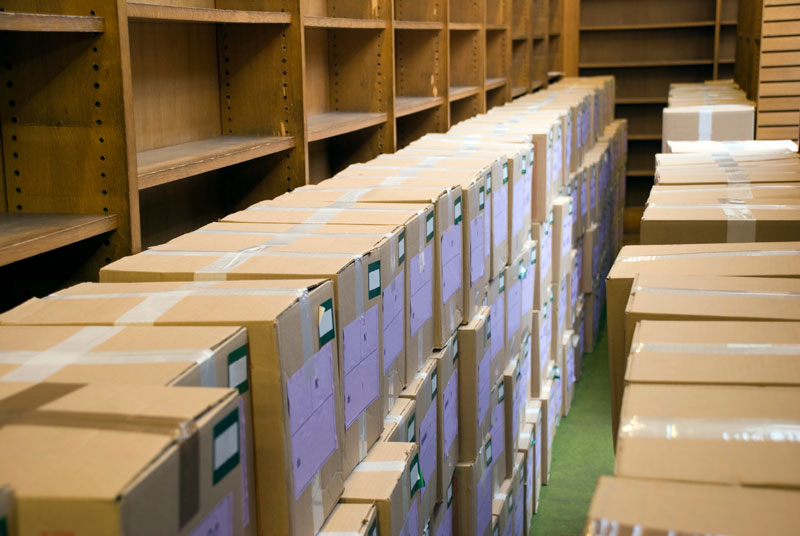 Packed Office storage room with boxes