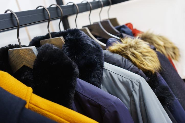 Modern outerwear in a shop on a hanger.