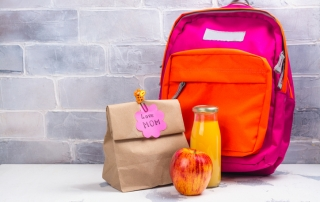 School lunch box and pink backpack